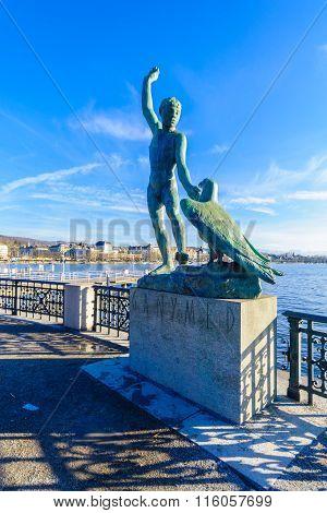 Lake Zurich And Ganymede Statue