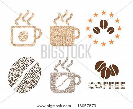Coffee cups and logo glyph composition with coffee beans