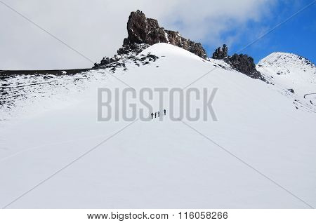 Group of climbers is on snow slope