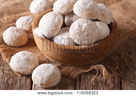 Shortbread Cookies Close Up In A Wooden Bowl. Horizontal, Rustic