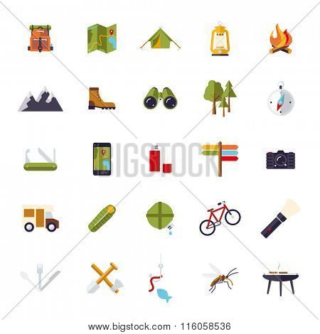 Isolated  flat design camping, hiking and outdoor pursuit vector icon set