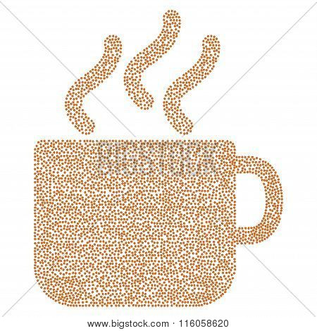 Coffee cup vector composition with coffee beans