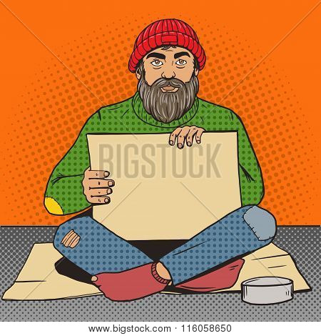 Homeless man with paper sign pop art vector