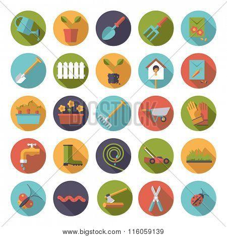 Flat design gardening vector icons in circles