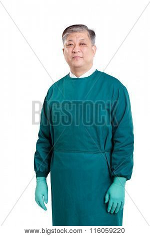 old asian man doctor in green surgical gown with gloves
