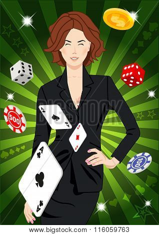 Confident Lucky Girl Throws Aces