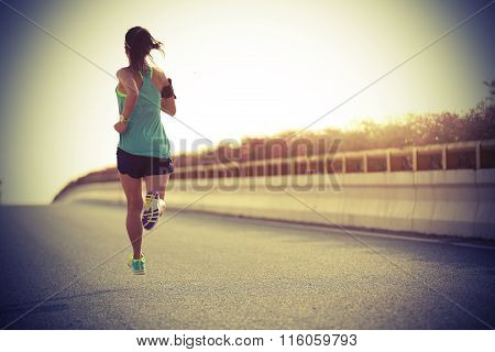 one young fitness healthy lifestyle woman runner running
