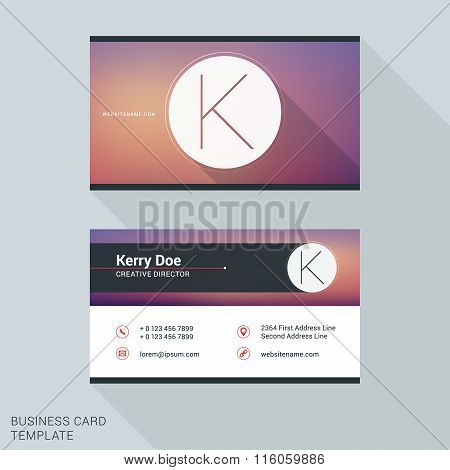 Creative And Clean Business Card Or Name Badge Template. Logotype Letter K. Flat Design Vector Illus