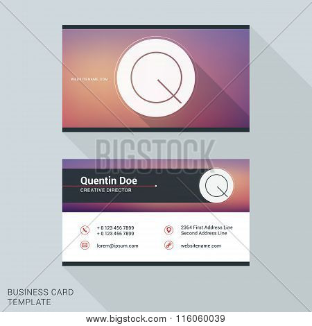 Creative And Clean Business Card Or Name Badge Template. Logotype Letter Q. Flat Design Vector Illus