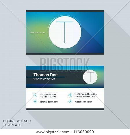 Creative And Clean Business Card Or Name Badge Template. Logotype Letter T. Flat Design Vector Illus