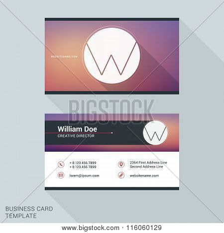 Creative And Clean Business Card Or Name Badge Template. Logotype Letter W. Flat Design Vector Illus