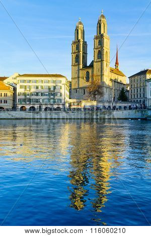 Zurich Old Town (altstadt) And The Grossmunster (great Minster) Church