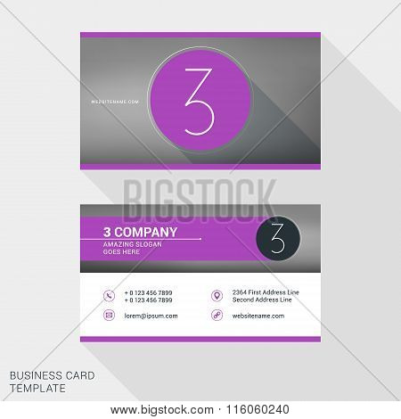 Creative And Clean Business Card Or Name Badge Template. Logotype Number 3. Flat Design Vector Illus