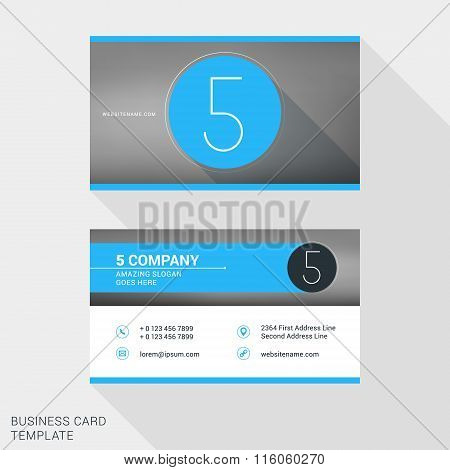 Creative And Clean Business Card Or Name Badge Template. Logotype Number 5. Flat Design Vector Illus