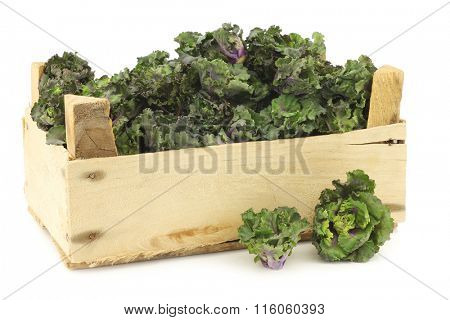freshly harvested kale sprouts in a wooden crate on a white background