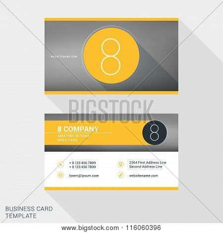 Creative And Clean Business Card Or Name Badge Template. Logotype Number 8. Flat Design Vector Illus