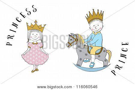 Cartoon princess and prince