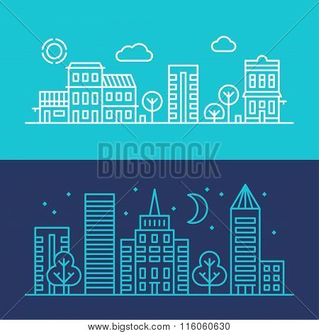 Night City And Morning City. Flat Style Line Art Vector Conceptual Illustration For Web Banners Or P