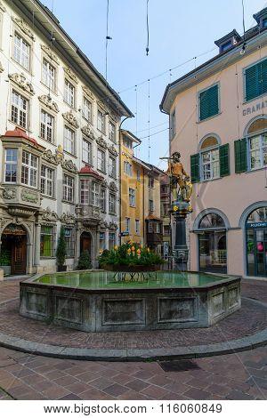 Wilhelm Tell Fountain In Schaffhausen
