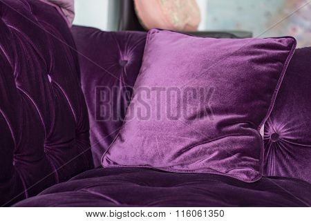 Purple Velvet Pillows On The Sofa