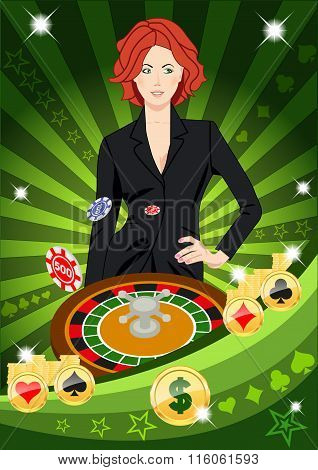 Confident Lucky Girl Spins Roulette