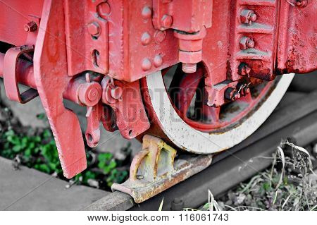 Brake System Mechanism On A Steam Train