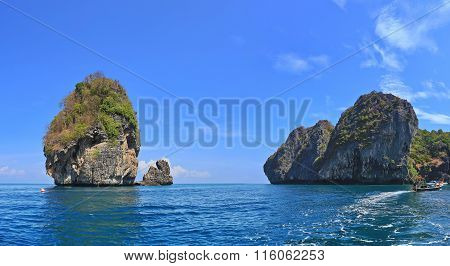Beautiful limestone rock in the ocean near Phi Phi island, Thailand