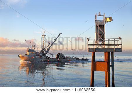 Seine Boat at Dawn