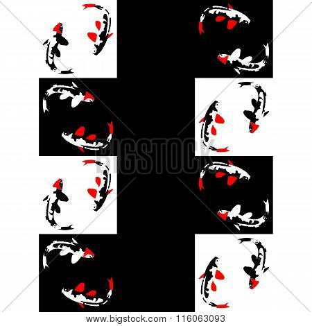 Seamless abstract geometric pattern on a chess background with fish