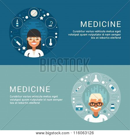 Set Of Flat Style Vector Conceptual Illustrations For Web Banners. People Occupation. Medicine. Medi