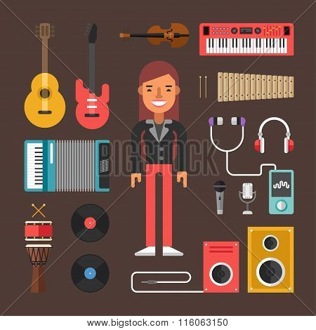 Set Of Vector Icons And Illustrations In Flat Design Style. Profession Musician. Female Cartoon Char
