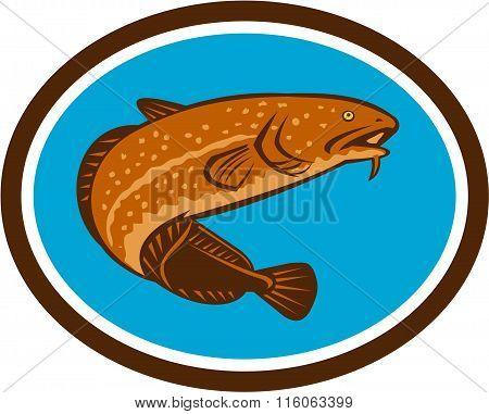 Burbot Fish Oval Retro