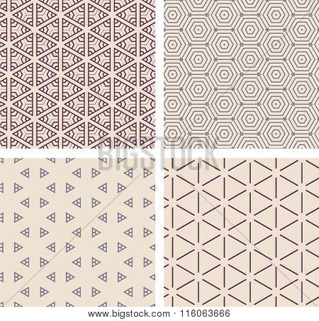Set of seamless geometric patern.