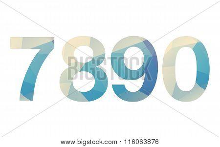 Polygonal modern bold font numbers