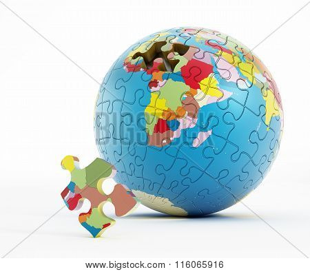 Puzzle Parts Forming Earth