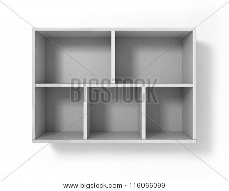 White Bookshelf Isolated On White Background