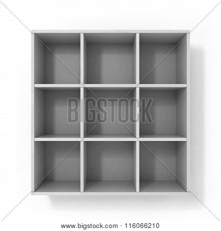 White Hanging Bookshelf Isolated On White Background