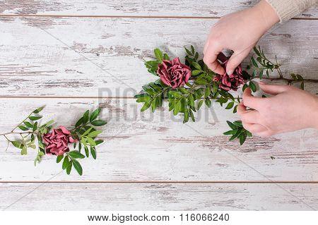Florist collects bouquet
