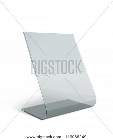 3D Render Transparent Acrylic Table Stand Display For Menu In Isolated Background With Work Paths, C