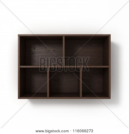 Dark Bookshelf Isolated On White Background