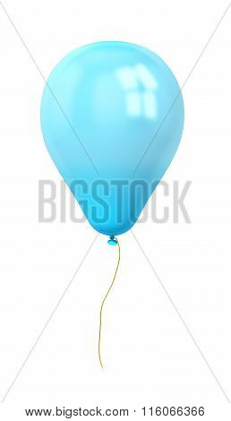 Festive Blue Balloon Isolated On White