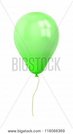 Festive Green Balloon Isolated On White