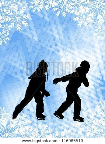 kids ice skating silhouettes on the abstract background - vector