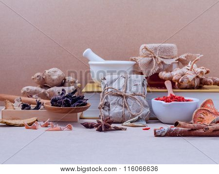 Alternative Healthcare Dried Various Chinese Herbs In Wooden Box And Dried Roselle In Wooden Spoon O