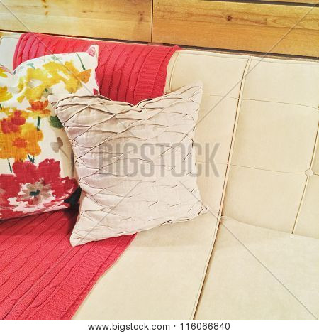 Sofa With Pink Throw And Cushions