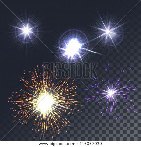 Set glowing lights, stars, the sun. The special effect isolated