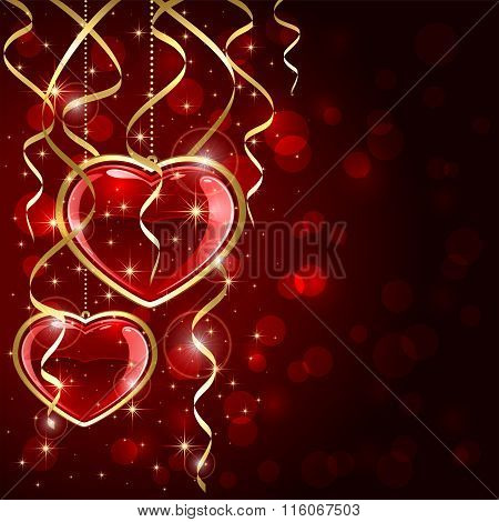 Two Red Hearts And Tinsel