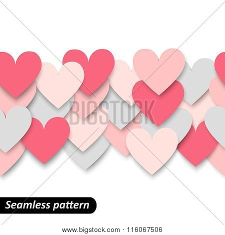 Colorful hearts seamless border