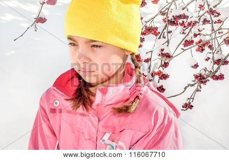 Portrait Of A Little Girl Crying Because She Is Cold In The Snow