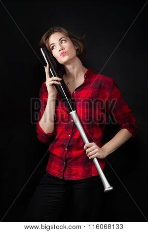 Model Red Flannel Shirt Hugging Baseball Bat